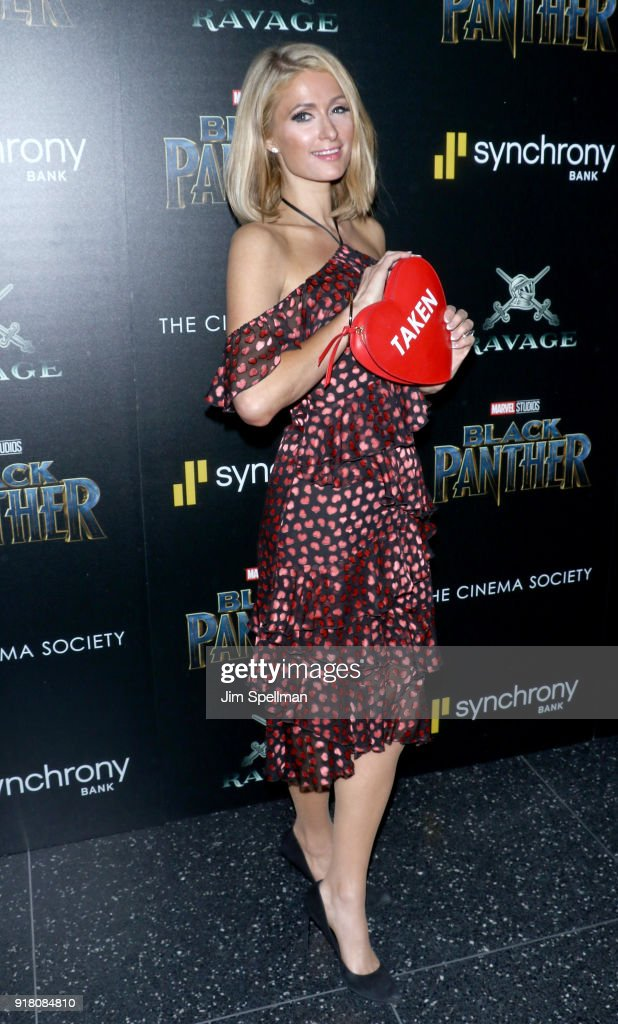 Paris Hilton attends the screening of Marvel Studios' 'Black Panther' hosted by The Cinema Society with Ravage Wines and Synchrony at Museum of Modern Art on February 13, 2018 in New York City.