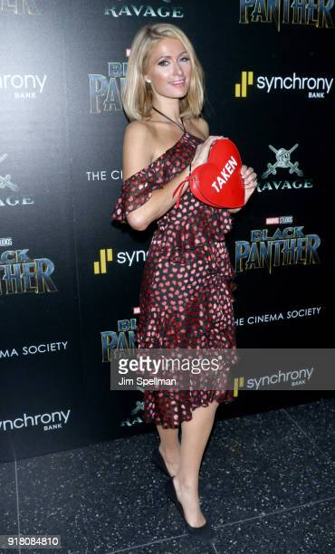 Paris Hilton attends the screening of Marvel Studios' 'Black Panther' hosted by The Cinema Society with Ravage Wines and Synchrony at Museum of...