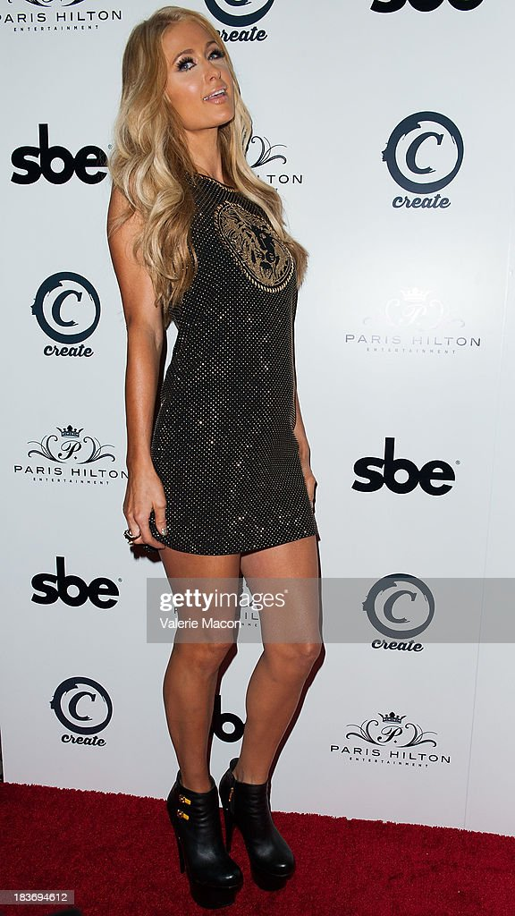 Paris Hilton attends the single release party for her single 'Good Time' Featuring Lil Wayne, where she performed her first DJ set in the United States at SBE's Create Nightclub at on October 8, 2013 in Hollywood, California.