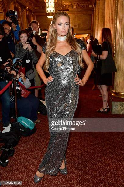 Paris Hilton attends the The Death And Life Of John F Donovan premiere during 2018 Toronto International Film Festival at Winter Garden Theatre on...