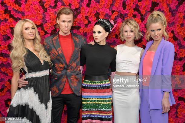 Paris Hilton, Barron Hilton, Stacey Bendet, Tessa Hilton and Nicky Hilton Rothschild attend the Alice + Olivia By Stacey Bendet presentation during...