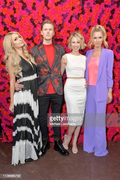 Paris Hilton, Barron Hilton, Tessa Hilton and Nicky Hilton Rothschild attend the Alice + Olivia By Stacey Bendet presentation during New York Fashion...