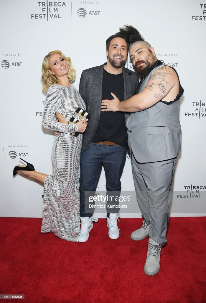 Paris Hilton, Bert Marcus and Josh Ostrovsky attend the 2018 Tribeca Film Festival World Premiere of Bert Marcus' THE AMERICAN MEME on April 27, 2018 at Spring Studios in New York City.