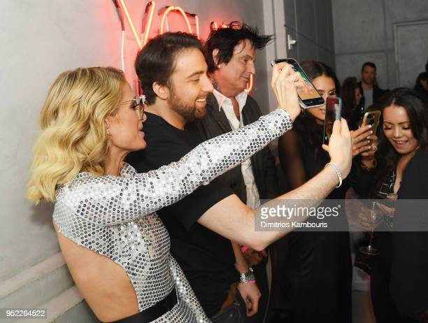 Paris Hilton Bert Marcus Tommy Lee and Brittany Furlan take a selfie during the 2018 Tribeca Film Festival World Premiere of Bert Marcus' THE...