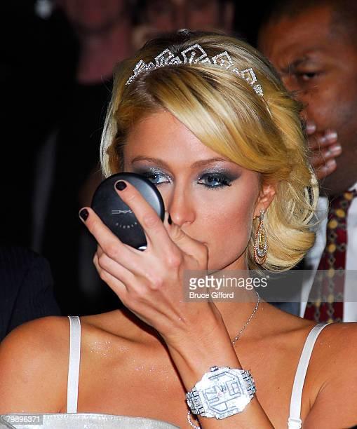 Paris Hilton celebrates a Burlesque Birthday at Pure Nightclub Caesars Palace on February 16 2008 in Las Vegas Nevada
