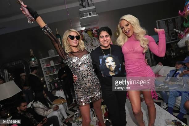Paris Hilton CEO Cofounder of Beautycon Media Moj Mahdara and Gigi Gorgeous attend the Paris Hilton X Beautycon Festival NYC PreParty on April 20...