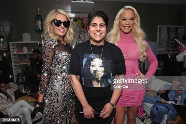 Paris Hilton CEO of Beautycon Media Moj Mahdara and Gigi Gorgeous attend the Paris Hilton X Beautycon Festival NYC PreParty on April 20 2018 in New...