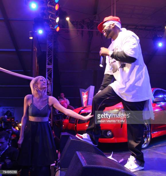 Paris Hilton dances as Rapper 50 Cent performs on the Pontiac Garage Stage at the 944 Magazine/Pontiac party in Scottsdale Arizona on Friday Feb 1...