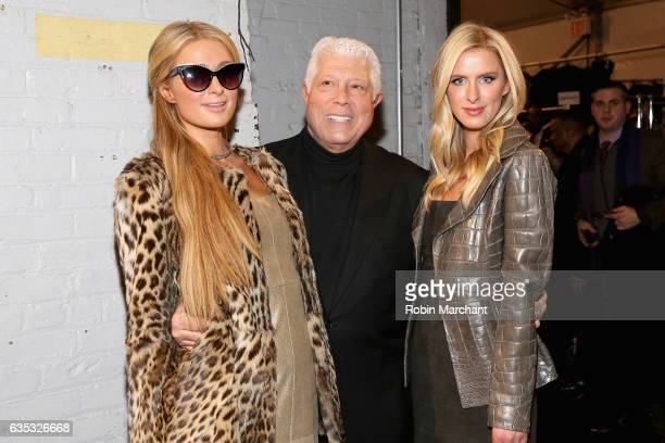 Paris Hilton designer Dennis Basso and Nicky Hilton Rothschild pose backstage for the Dennis Basso collection during New York Fashion Week The Shows...