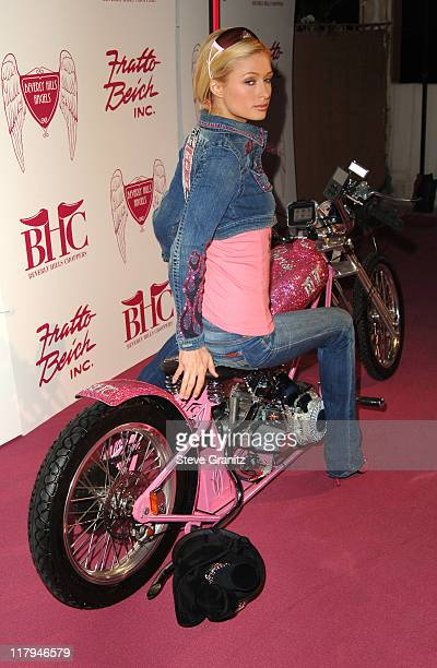 Paris Hilton during Beverly Hills Choppers Presents 'The Paris Bike' to Paris Hilton at Residence of Johnny Fratto in Beverly Hills California United...