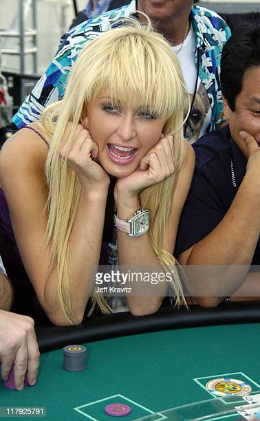 Paris Hilton during Paris Hilton Hosts Blackjack on the Beach August 7 2004 at Atlantic City Hilton in Atlantic City New Jersey United States