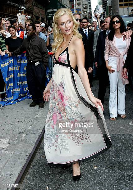 Paris Hilton during Paris Hilton Visits the 'Late Show With David Letterman' June 12 2006 at Ed Sullivan Theatre in New York City New York United...
