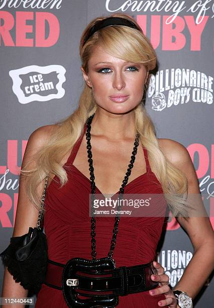 Paris Hilton during Pharrell Williams and Absolut Ruby Red Host Pre VMA Party Outside Arrivals at Chinatown Brasserie in New York City New York...