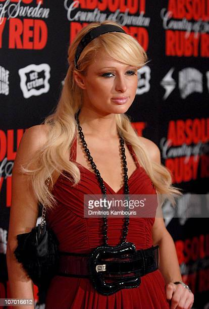 Paris Hilton during Pharrell Williams and ABSOLUT Ruby Red Host PreVMA Party Red Carpet Arrivals at Chinatown Brasserie in New York City New York...