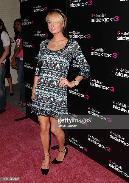 Paris Hilton during TMobile Launch of the Sidekick 3 Arrivals at TMobile Sidekick 3 Boutique in Beverly Hills California United States