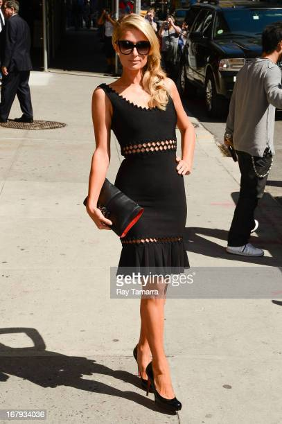 Paris Hilton enters the 'Late Show With David Letterman' taping at the Ed Sullivan Theater on May 2 2013 in New York City