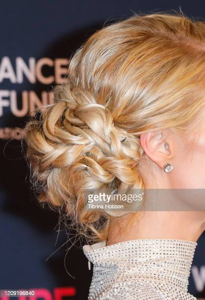 Paris Hilton hair detail attends The Women's Cancer Research Fund's Unforgettable Evening 2020 at Beverly Wilshire A Four Seasons Hotel on February...