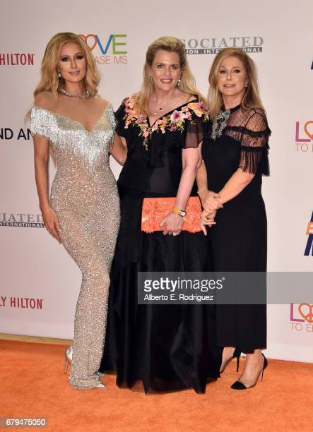 Paris Hilton host Nancy Davis and Kathy Hilton attend the 24th Annual Race To Erase MS Gala at The Beverly Hilton Hotel on May 5 2017 in Beverly...