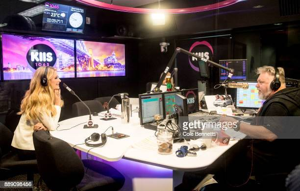 Paris Hilton is interviewed by Australian radio hosts Kyle Sandilands and Jackie O during a promotion visit to Australia to launch her 23rd fragrance...