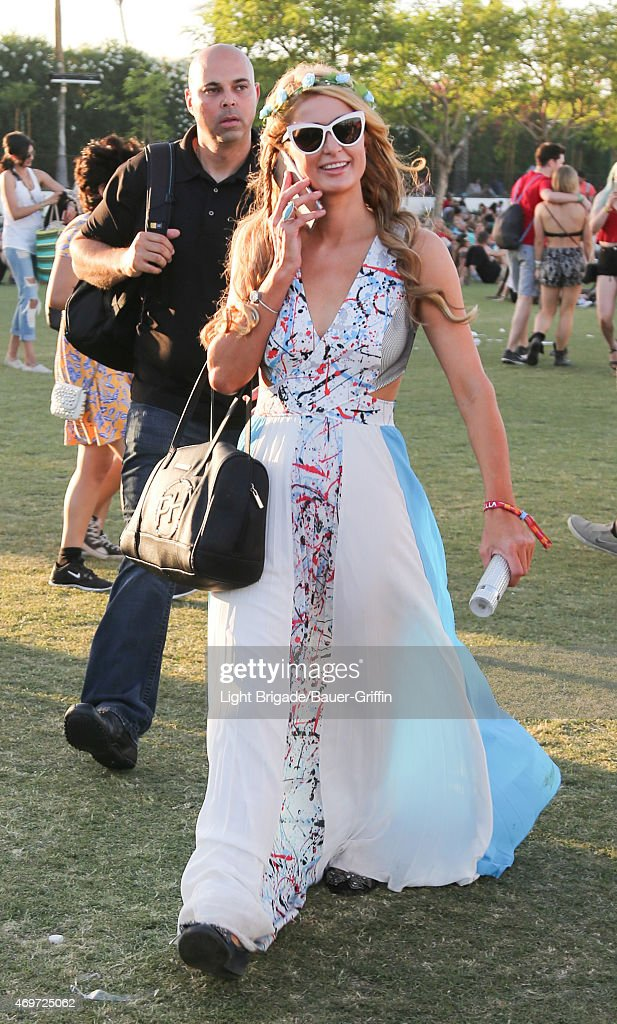 Paris Hilton is seen at Coachella Valley Music and Arts Festival at The Empire Polo Club on April 12, 2015 in Indio, California.