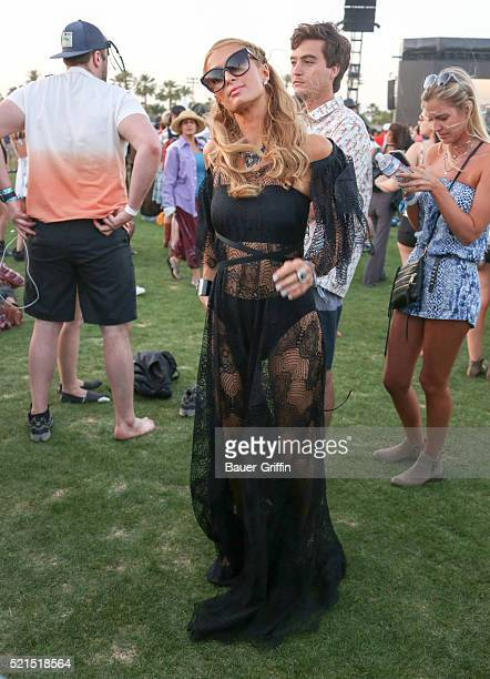 Paris Hilton is seen at The Coachella Valley Music and Arts Festival on April 16 2016 in Los Angeles California