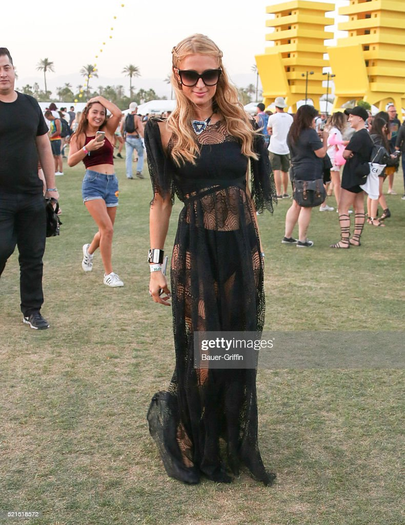 Paris Hilton is seen at The Coachella Valley Music and Arts Festival on April 16, 2016 in Los Angeles, California.