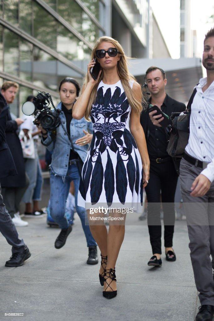 Paris Hilton is seen attending Oscar de la Renta during New York Fashion Week wearing Oscar de la Renta on September 11, 2017 in New York City.