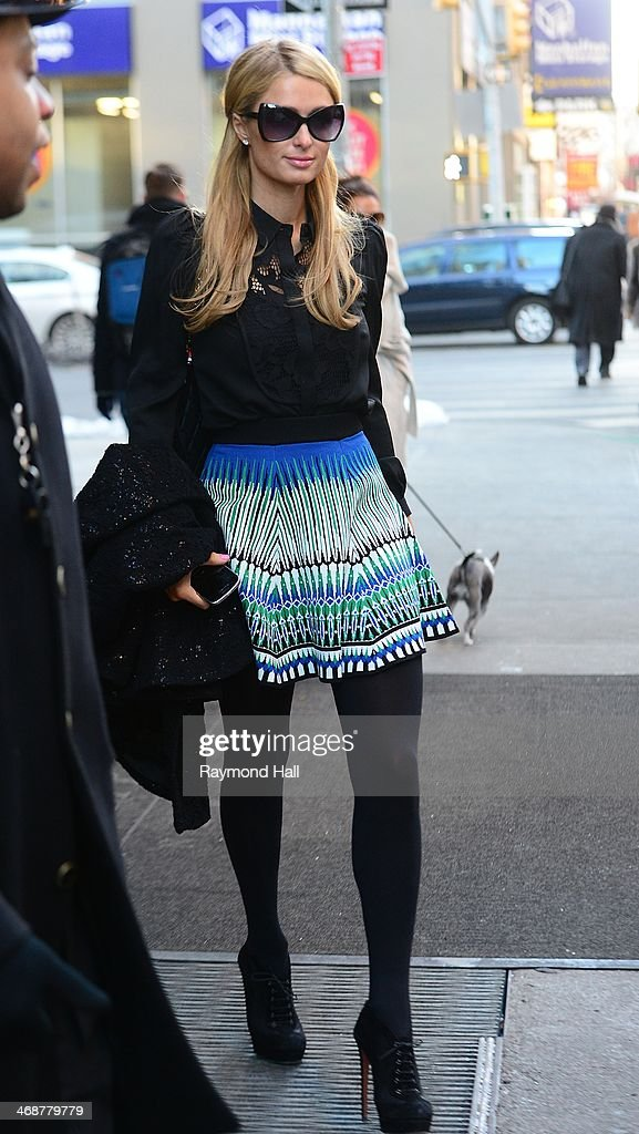 Paris Hilton is seen in Soho on February 11, 2014 in New York City.