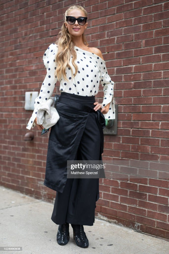Paris Hilton is seen on the street during New York Fashion Week SS19 wearing Monse on September 7, 2018 in New York City.
