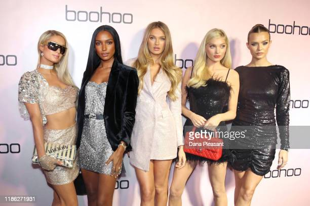 Paris Hilton Jasmine Tookes Romee Strijd Elsa Hosk and Josephine Skriver attend boohoo x All That Glitters Launch Party on November 07 2019 in Los...