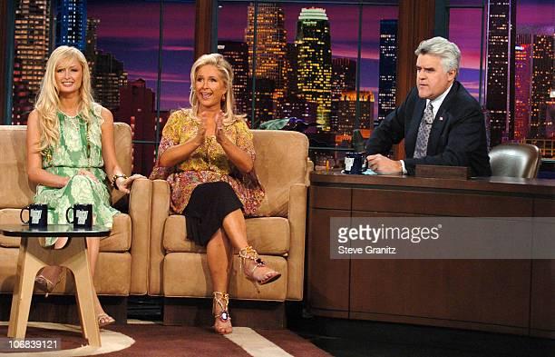 Paris Hilton Kathy Hilton and Jay Jeno during Paris Hilton and Kathy Hilton Visit The Tonight Show with Jay Leno June 15 2005 at NBC Studios in...