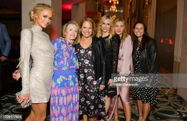 Paris Hilton Katie Couric and Caroline Couric Monahan pose for portrait at The Women's Cancer Research Fund's An Unforgettable Evening 2020 at...