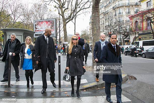 Paris Hilton leaves the 'Bataclan' concert hall after giving a tribute to the victims of the terrorist attack on December 11 2015 in Paris France