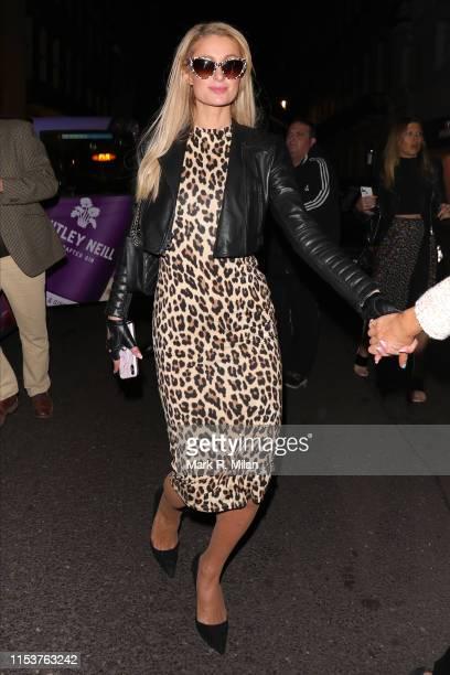 Paris Hilton leaving Isabel restaurant on June 04, 2019 in London, England.