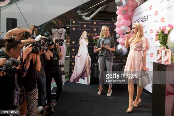 Paris Hilton meets fans and poses for the media during a promotion visit to Australia to launch her 23rd fragrance Rosé Rush on November 30 2017 in...