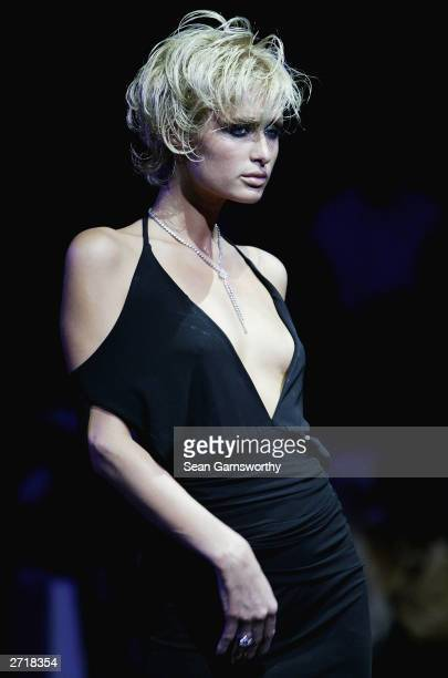 Paris Hilton models on the catwalk during a fashion Parade by Wayne Cooper titled The Edge at the Mercedes Australian Fashion Week at Federation...