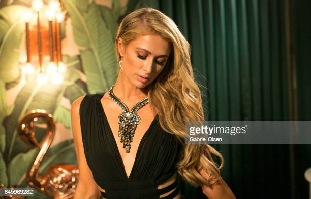 Paris Hilton necklace detail attends the Circus Magazine Oscars Celebration hosted by Steve Shaw and Jonas Tahlin CEO Absolut Elyx Sponsored by Volvo...