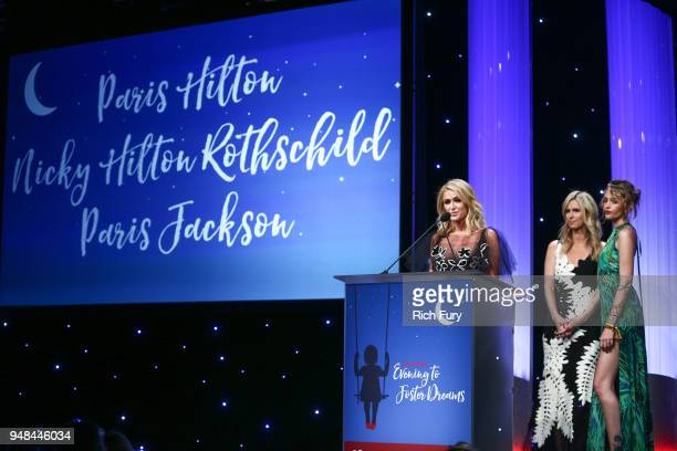 Paris Hilton Nicky Hilton Rothschild and Paris Jackson speak onstage during the CASA Of Los Angeles' 2018 Evening To Foster Dreams Galaat The Beverly...