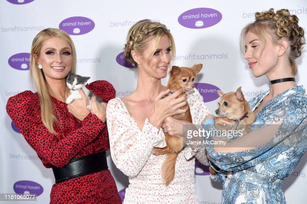 Paris Hilton, Nicky Hilton Rothschild and Tessa Hilton attend the Animal Haven Gala 2019 at Tribeca 360 on May 22, 2019 in New York City.