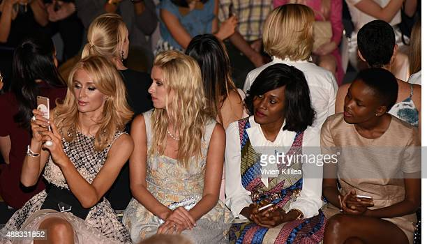 Paris Hilton Nicky Hilton Rothschild Rosemary Kokuhilwa and Flaviana Matata attend Dennis Basso Spring 2016 during New York Fashion Week The Shows at...