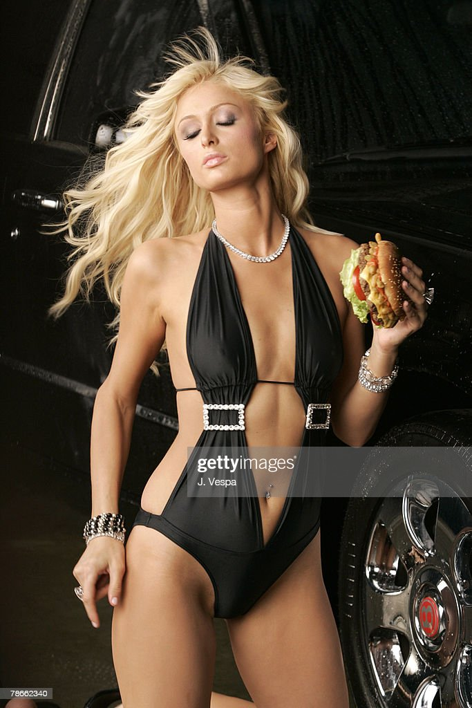 Paris Hilton on the set filming Carl's Jr.'s new ad for the Spicy BBQ Six Dollar Burger