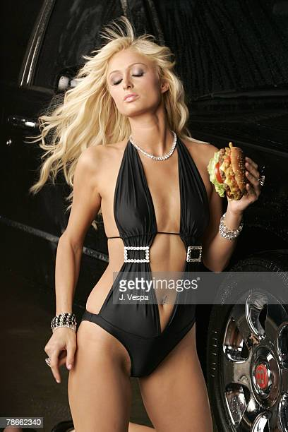 Paris Hilton on the set filming Carl's Jr's new ad for the Spicy BBQ Six Dollar Burger