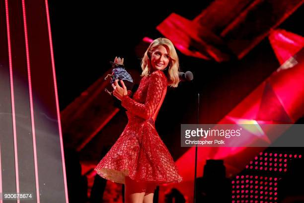 Paris Hilton onstage during the 2018 iHeartRadio Music Awards which broadcasted live on TBS TNT and truTV at The Forum on March 11 2018 in Inglewood...