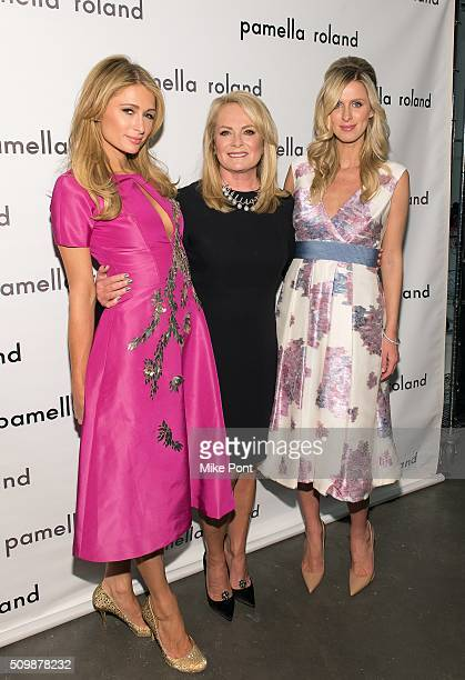 Paris Hilton Pamella Roland and Nicky Hilton attend the Pamella Roland Fall 2016 fashion show at Pier 59 Studios on February 12 2016 in New York City