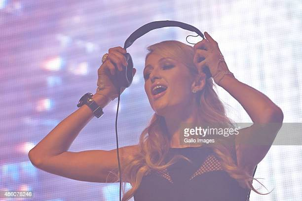 Paris Hilton performs during the International Fashion Fair on August 28 2015 in Rzgow Poland This is an unique opportunity to see her DJ in Poland...