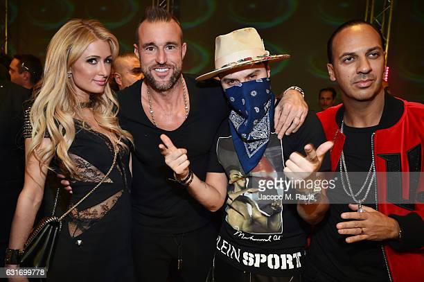 Paris Hilton Philipp Plein Alec Monopoly and guest attend the Plein Sport party during Milan Men's Fashion Week Fall/Winter 2017/18 on January 14...