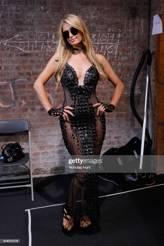 Paris Hilton poses backstage at the Blonds fashion show during New York Fashion Week: The Shows at Gallery 1, Skylight Clarkson Sq on September 12, 2017 in New York City.