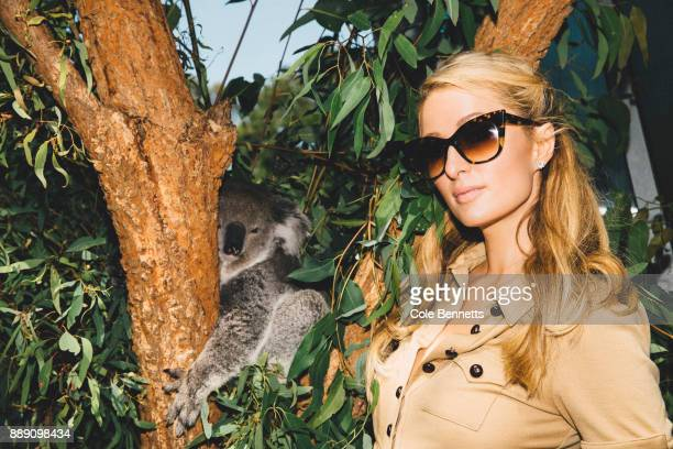 Paris Hilton poses for a photo next to a Koala during a promotion visit to Australia to launch her 23rd fragrance Rosé Rush at Taronga Zoo on...