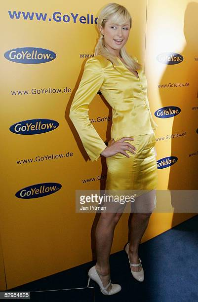Paris Hilton poses for photographers during a news conference for the internet company 'GoYellow' on May 20 2005 in Munich Germany