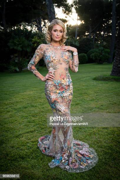 Paris Hilton poses for portraits at the amfAR Gala Cannes 2018 cocktail at Hotel du CapEdenRoc on May 17 2018 in Cap d'Antibes France